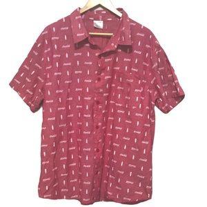 Coca Cola red button down shirt 2XL